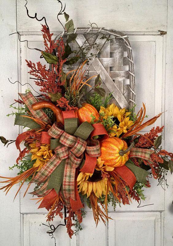Fall Arrangement, Fall Door Arrangement, Pumpkin Arrangement, Pumpkin Door Arrangement, Tobacco Bask