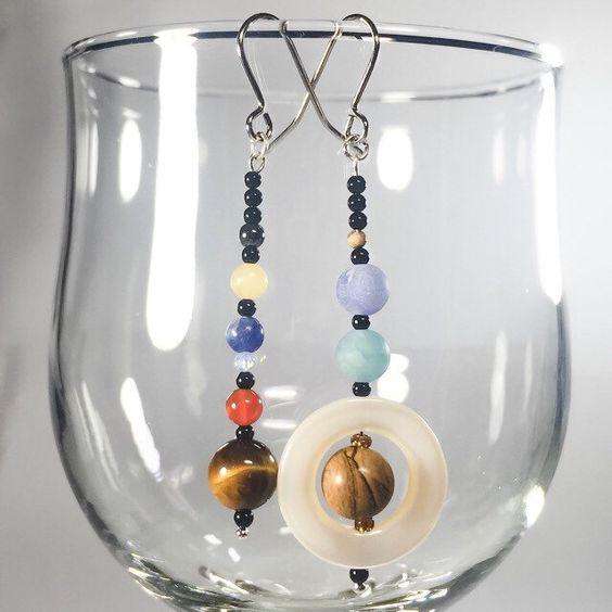 NEW Solar System earrings - onyx, tigers eye, jasper, sodalite, moonstone, topaz, hematite, shell - Planets, Sun, Moon, Mars, Venus, Pluto by ISpyWithMyBeadyEye on Etsy https://www.etsy.com/uk/listing/460404084/new-solar-system-earrings-onyx-tigers