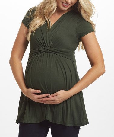 Another great find on #zulily! PinkBlush Forest Green Draped Maternity/Nursing Surplice Top #zulilyfinds