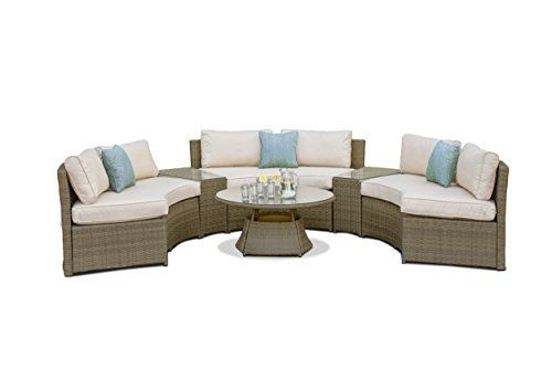Rattan Tuscany Half Moon Sofa Set Outdoor Garden Furniture