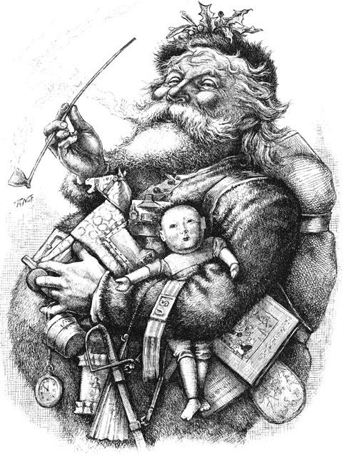 Santa Sketch | Black And White Clip Art Reproduction Of The Famous Thomas Nast Santa ...