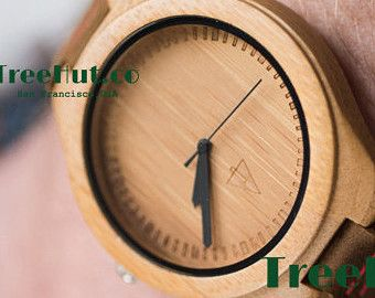 Treehut Engraved Mens Wood Wooden Watches Bamboo by TreeHutDesign