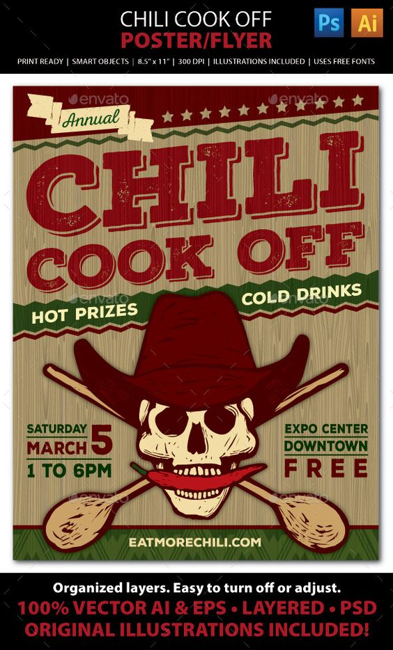 chili cook off competition poster flyer or ad chili cook off cook off and flyers. Black Bedroom Furniture Sets. Home Design Ideas
