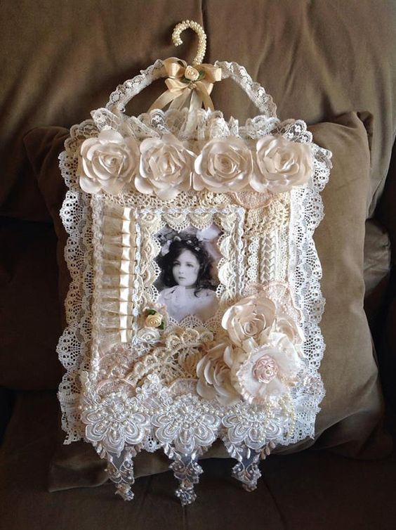 Gorgeous one of a kind shabby chic vintage image wall hanging with handmade hanger: