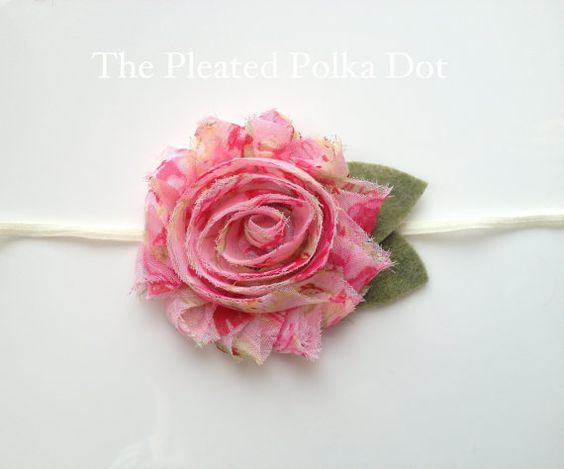 Shabby Flower with Decorative Green Leaves by ThePleatedPolkaDot, $6.00