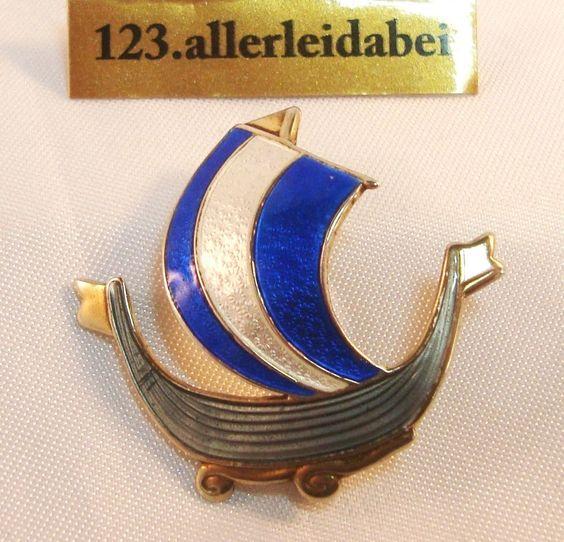 Emaille Brosche Wikinger Schiff 925 er Silber Emaile old enamel / AL 210