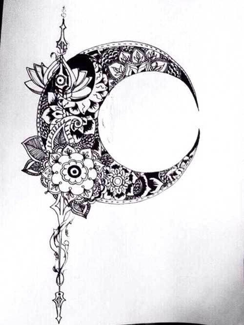 crescent moon tattoo drawing mandala pinterest mond mond tattoos und halbmond tattoos. Black Bedroom Furniture Sets. Home Design Ideas