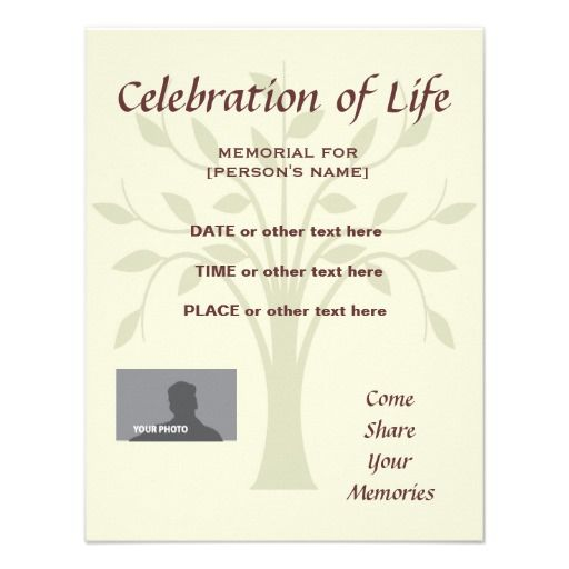 Memorial Celebration of Life Tree of Life Invitation – Funeral Reception Invitation