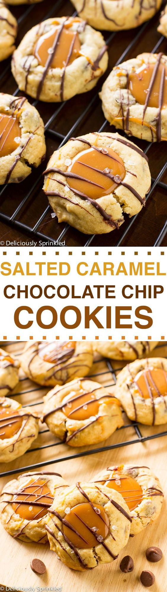 The BEST Salted Caramel Chocolate Chip Cookies. Get the recipe here!