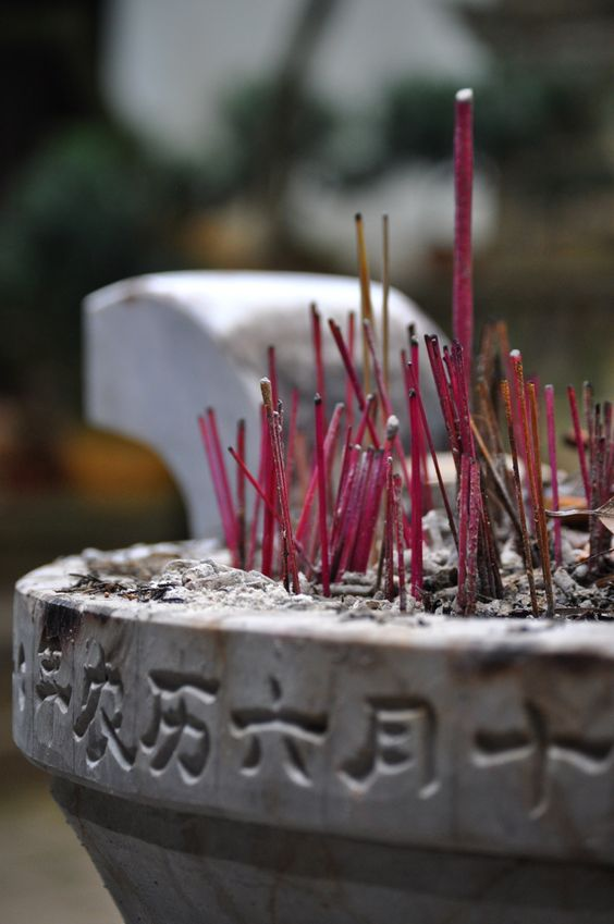 Incense sticks at a Buddhist temple in Tonghai, Yunnan, China