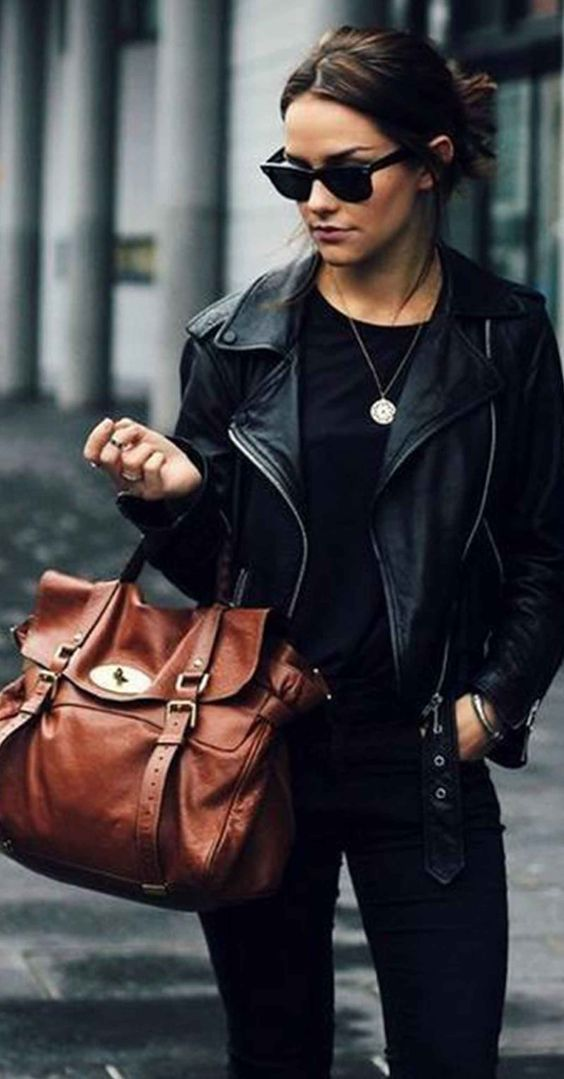 black moto-inspired leather jacket with black tee, jeans, and a brown leather handbag. sunglasses: Rayban. #fashionblogger #streetstyle #outfits