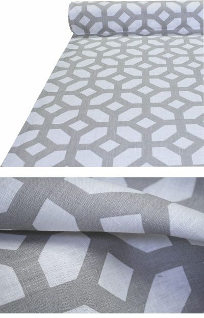 "Gray Linen Geometric Fabric ""Courtyard, Oyster"""