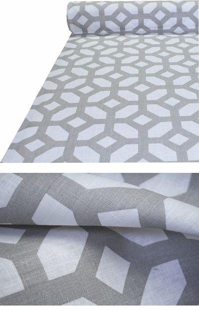 "Gray Linen Geometric Fabric ""Courtyard, Oyster"""