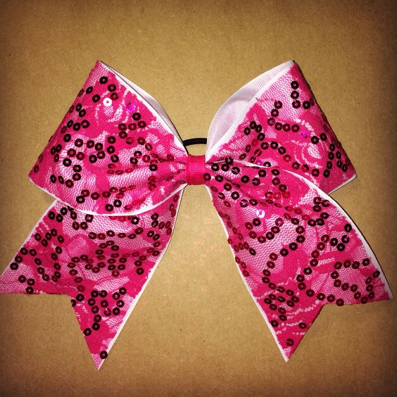 Pink lace and sequins cheer bow. So pretty!    www.facebook.com/MidnightBows  Instagram - @MidnightBows