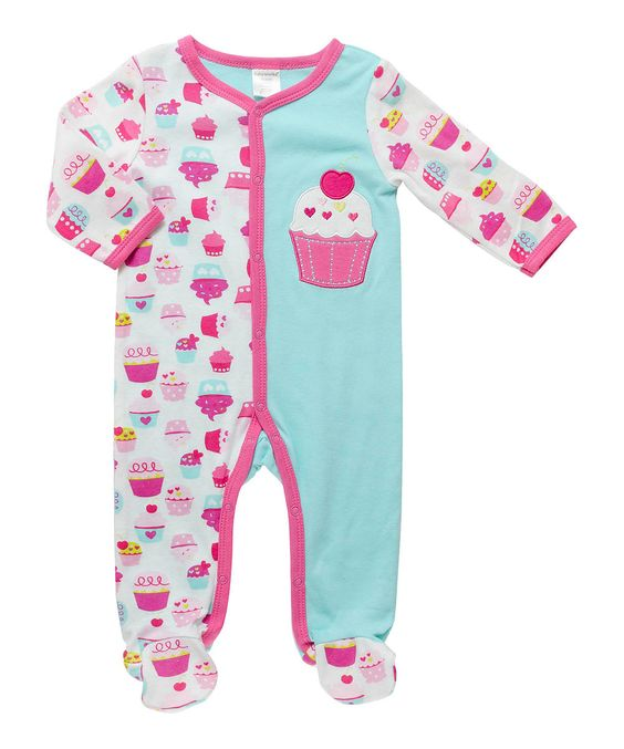 Look at this Cutie Pie Baby Blue & Pink Cupcake Footie - Infant on #zulily today!