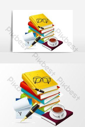 عنصر تصميم قلم كتاب القهوة الكرتون صور Png Ai تحميل مجاني Pikbest Pen Design Coffee And Books Design Element