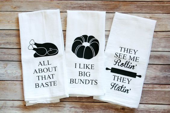 These towels are hilarious!  They make the perfect gift idea or add a humorous touch to your own kitchen!