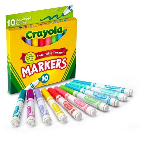 Crayola 10ct Broadline Markers Bold And Bright Plumones