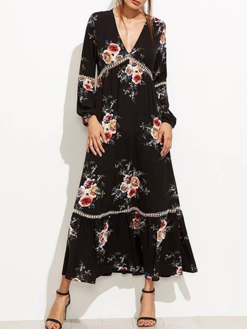 2782718303c9 V Neck Floral Women's Maxi Dress in 2019 | clothes | Pinterest ...