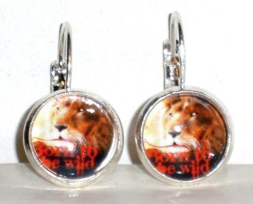 Ohrringe Löwe Modeschmuck Ohrschmuck Damen Hänger Legierung Glas Neuware