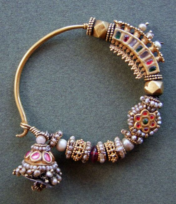 India | Nosering ~ 'nath' ~ gold, rubies, glass, crystal, pearls and turquoise | 19/20th century.  Madhya Pradesh, Central India.