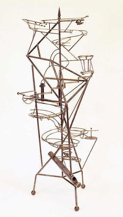 Rube Goldberg inspired rolling Ball Machine sculpture by Bruce Gray at rolling Ball Museum, Seoul, Korea