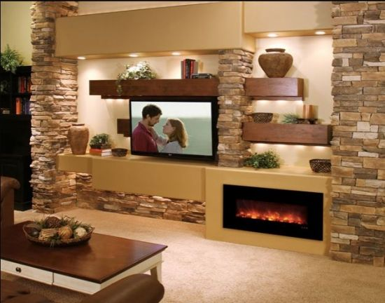 Perete placat cu piatra televozir si semineu Home decor - led für wohnzimmer