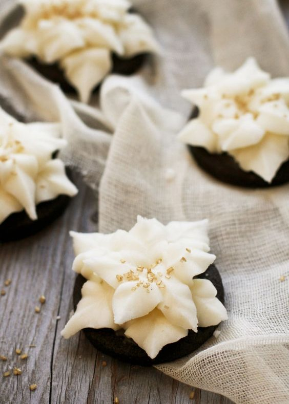 Dark Chocolate Poinsettia Cookies with Champagne Buttercream....