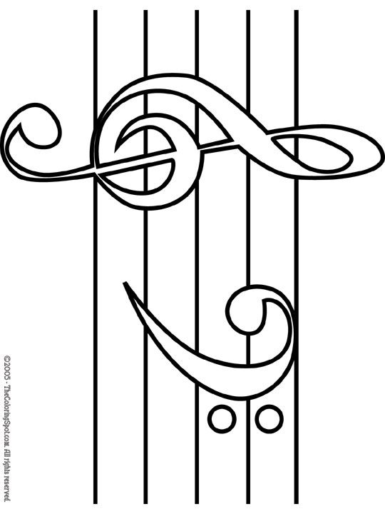treble amp bass clef coloring page