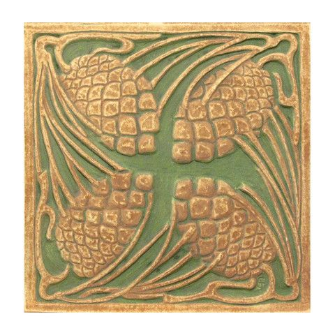 Lacma store pine cone tile 6 x 6 handmade reproduction for Arts and crafts stores los angeles