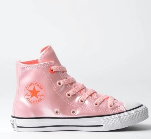 tenis infantil converse all star cano alto rosa metalizado