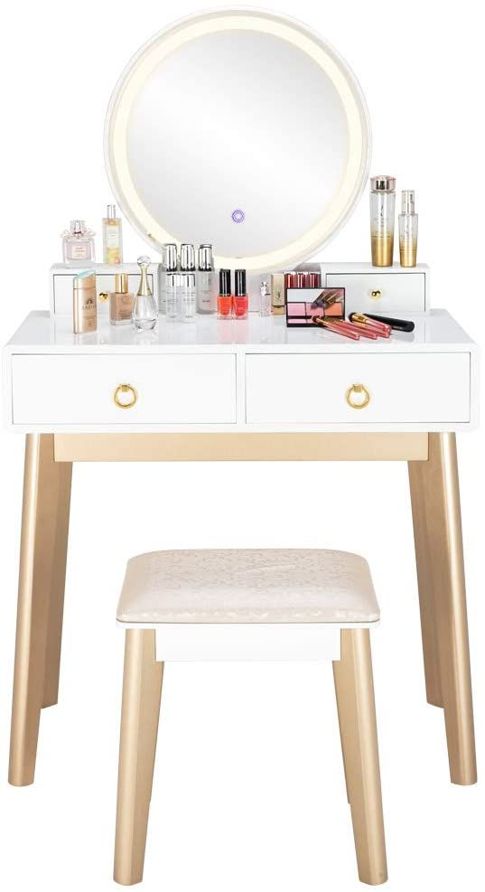 Ssline Elegant Vanity Set With Lighted Round Mirror And Cushioned Stool White Champagne Color Finish Solid Wood Desk Makeup Dressing Table Elegant Vanity Vanity table with lighted mirror and bench