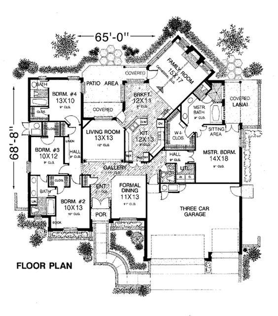 first floor plan of european house plan 98511
