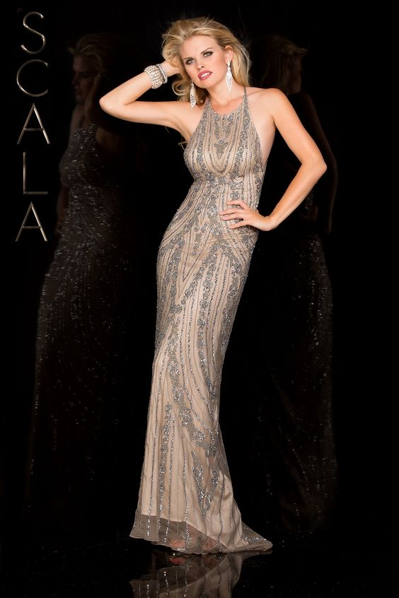 #SCALA Spring 2016 style 48585 Lead/Silver! #scalausa #spring2016 #prom2016 #gown #promdress #eveningwear #dress #sequins #specialoccasion #prom2k16 www.scalausa.com