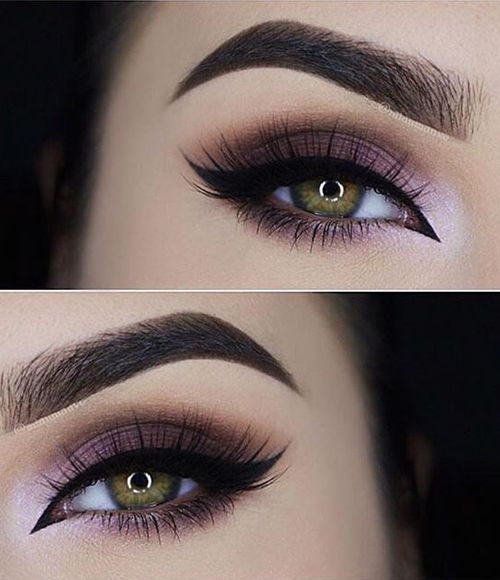 Perfect plum ombre smokey look with a winged liner. Start with a light color at the tear duct and increase more color as you work your way outwards.: