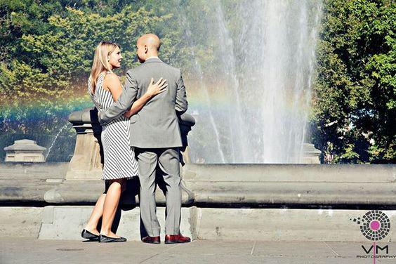 Engagement. Washington park square. New York.  Rainbow.