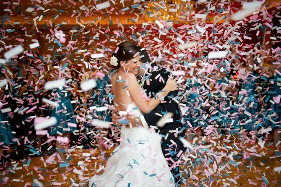 Cancun Wedding Confetti cannon reception party