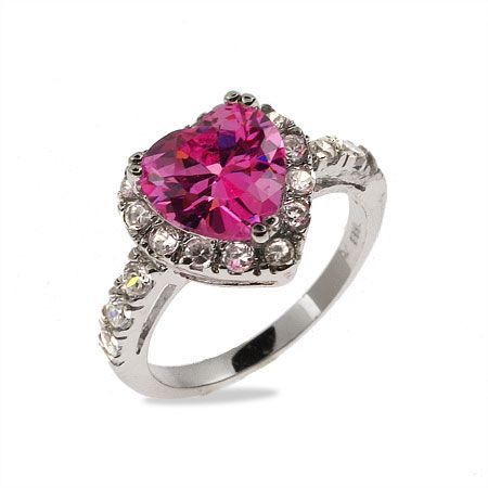 Sparkling Pink CZ Sterling Silver Heart Ring