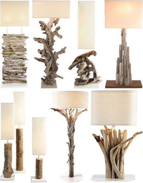 Really like the one in the upper right hand corner! Must try this. driftwood table lamp stands: