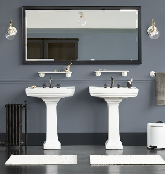 Boy bath color story- blue gray wall, black mirror, white hex tile ...