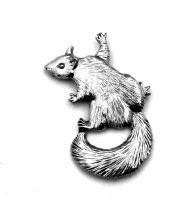 Climbing Squirrel Pin Badge in Fine English Pewter, Handmade in England (ae2)