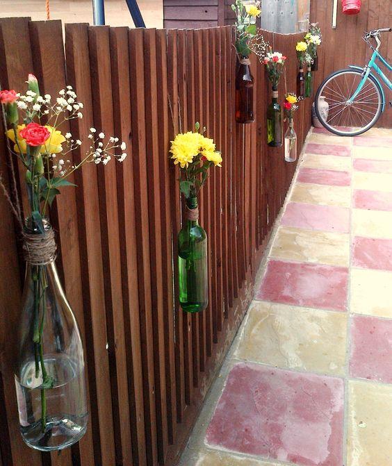 Wine bottles as vases