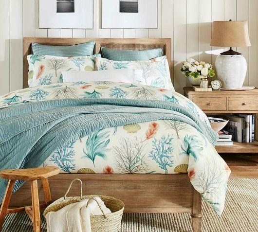 Catalog Bliss!! Earthy Beachy Bedroom... http://www.beachblissdesigns.com/2016/09/pottery-barn-catalog-beach-blue-bedroom-jute-rug.html