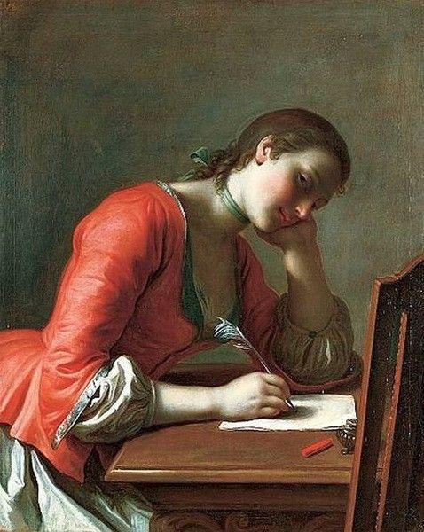 """Young Girl Writing a Love Letter,"" Pietro Antonio Rotari, c. 1755."