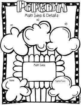 Popcorn Main Idea Graphic Organizer & Craft - TeachersPayTeachers.com