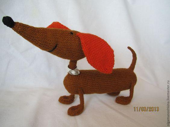 Купить Такса - Вязание крючком, вязаная игрушка, вязаная собачка, вязаная собака, такса, таксы