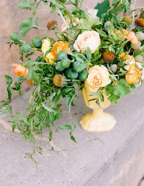 rustic-wedding-flowers-ideas-yellow-orange-centerpieces @Once Wed