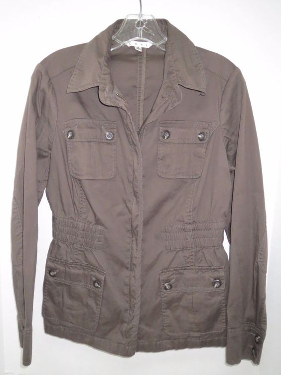 CAbi Lightweight Women&39s Jacket Style 398 Sz S Small Cotton Brown