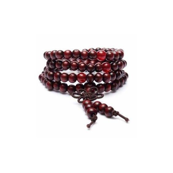 108Pcs Sandalwood Buddha Beads Multilayer Bracelet (€2,33) ❤ liked on Polyvore featuring jewelry, bracelets, red, red bangles, wooden bangles, wood jewelry, bead jewellery and beaded jewelry