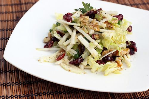 Kohlrabi Slaw with Dried Cranberries and Walnuts - Gluten-free + Vegan h